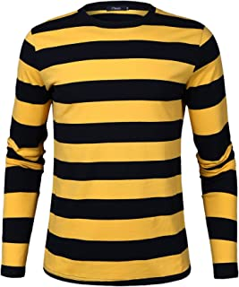 iClosam Men's Crew Neck Basic Striped T-Shirt Long Sleeve Cotton Shirt