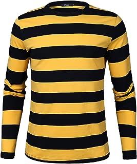 Men's Crew Neck Basic Striped T-Shirt Long Sleeve Cotton Shirt