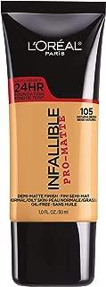 L'Oréal Paris Makeup Infallible Pro-Matte Liquid Longwear Foundation, 105 Natural Beige, 1 fl. oz.