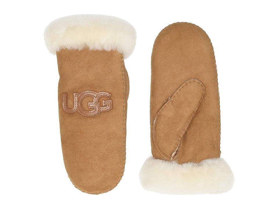 UGG Logo Water Resistant Sheepskin Mitten (Chestnut) Extreme Cold Weather Gloves
