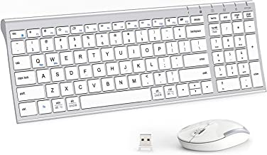 iClever GK03 Wireless Keyboard and Mouse Combo - 2.4G Portable Wireless Keyboard Mouse, Rechargeable Battery Ergonomic Des...