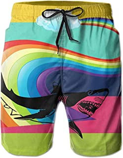 Rainbow Shark Jogging Hombres Verano Surf Secado rápido Bañadores Shorts Pantalones de Playa con Bolsillo