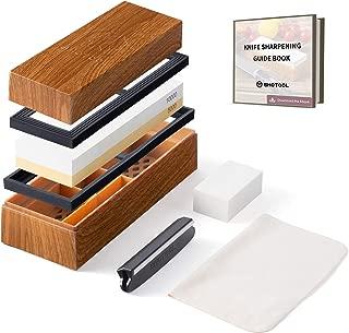 Shotool Whetstone 5000/10000 Grit Knife Sharpening Stone | Non-Slip Antique Customized Box | 2 Sided Polishing Blade Kit | 6-in-1 Sharpener Waterstone Set for Straight Razor