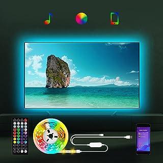 Rétro-éclairage LED pour TV de 55 à 85 pouces, 5 m de bande LED RVB avec application / Bluetooth, USB LED Backlight pour T...