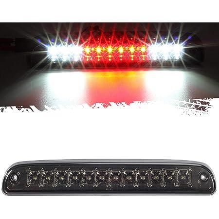 3rd Brake Light Red White LED Lamp with Chromed Housing Smoked Lens for Dodge Ram 1500//250//3500 94-01