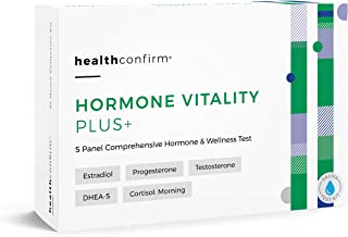 HealthConfirm - Hormone Vitality Plus - At-Home Test Kit - 5 Panel Morning Hormone Balance Saliva Collection Kit