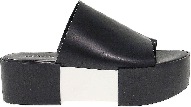 VIC MATIé Women's VICM7204DN Black Leather Sandals