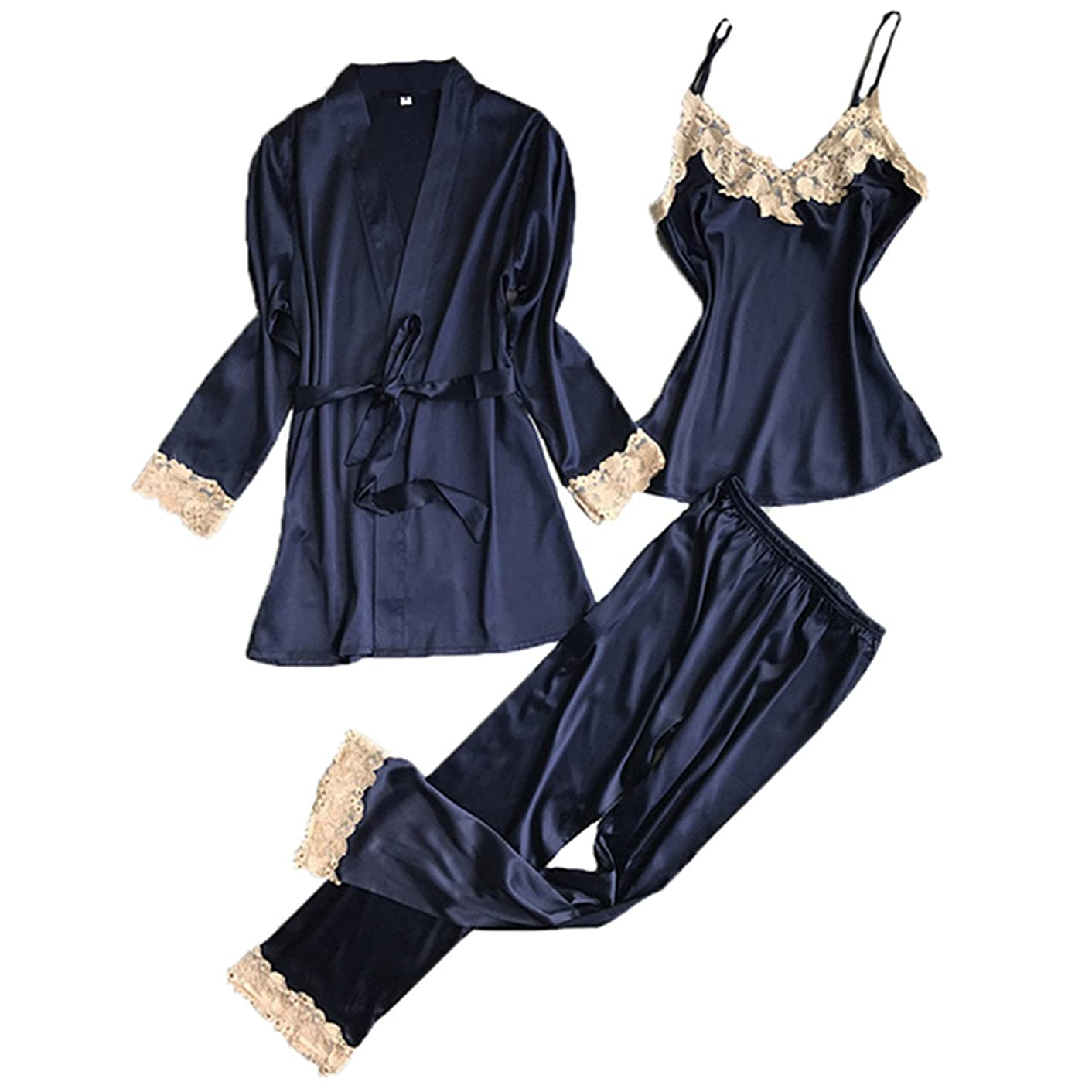 JIANGTAOLANG Three Pieces Satin Lace Padded Pajamas Sets with Long Sleeve Bathrobe Sexy V-Neck Womens Nightwear