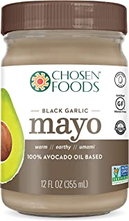 Chosen Foods Avocado Oil Mayo Black Garlic 12 oz., Non-GMO, Gluten Free, Dairy Free for Sandwiches, Dressings, Sauces and ...