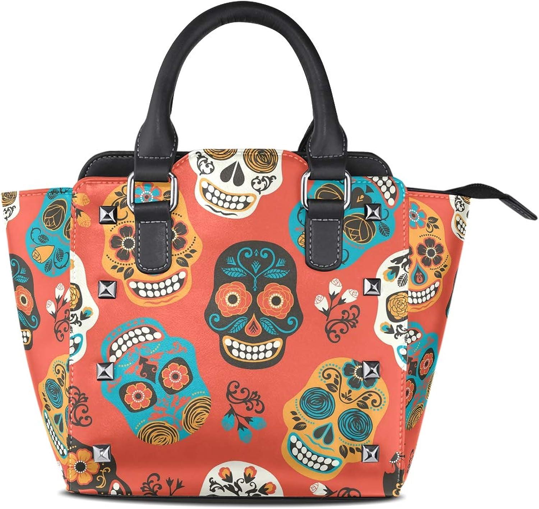 My Little Nest Women's Top Handle Satchel Handbag Floral Skulls Ladies PU Leather Shoulder Bag Crossbody Bag