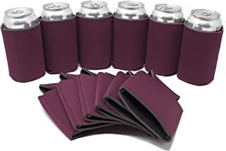 TahoeBay 12 Can Sleeves for Standard Cans Blank Poly Foam Beer Insulator Coolers (Maroon, 12)
