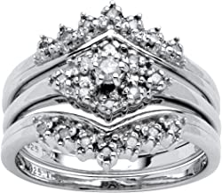 Platinum over Sterling Silver Round Genuine Diamond 3 Piece Crown Bridal Ring Set (1/5 cttw, I Color, I3 Clarity)