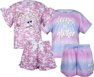 Sleep On It Conjunto de Pijama de 4 Piezas para niñas y Pantalones Cortos de Manga Corta (2 Juegos completos)