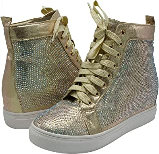 Z.Emma Womens Rhinestone Hidden Heel Platform Fashion Sneaker High Top Lace Up Sequined Ankle High Bootie HN09