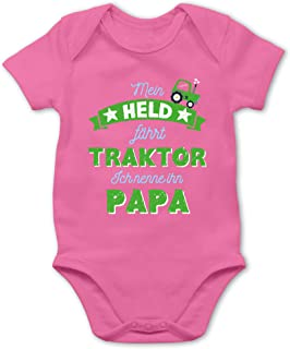 Shirtracer Mein Held fährt Traktor Papa - Baby Body Kurzarm für Jungen und Mädchen
