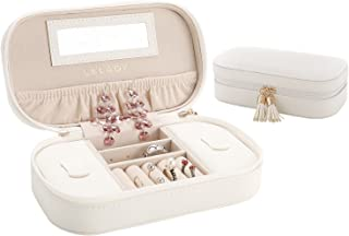 LELADY Jewellery Box Organiser Small Travel Jewellery Case Portable Faux Leather Jewellery Organiser Box Storage Holder with Mirror for Women Girls (White)