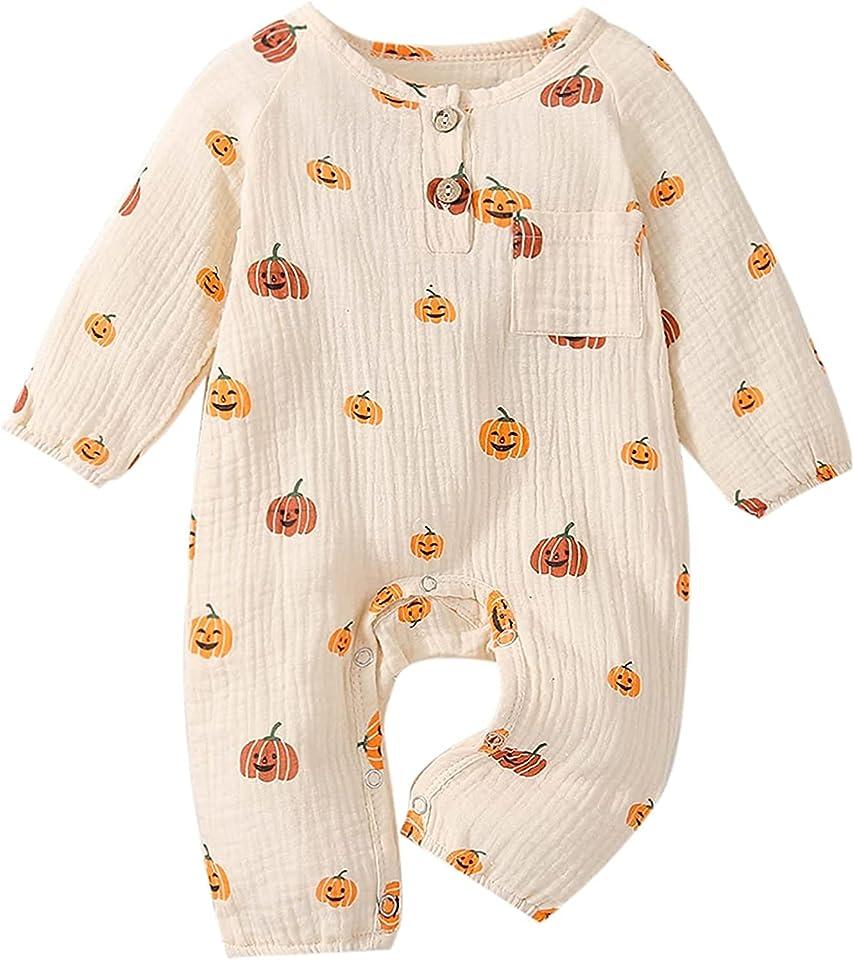 0-24 Months Baby Boys Girls Halloween Outfit My First Halloween Pumpkin Romper Bodysuit One-Piece Pajamas Toddler Kids Long Sleeve Fall Winter Clothes