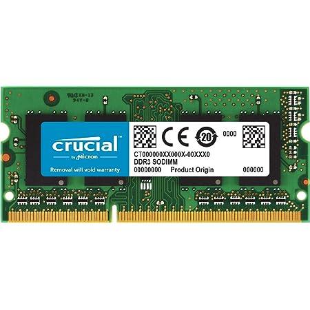 Crucial 2GB Single DDR3/DDR3L 1600 MT/S (PC3-12800) Unbuffered SODIMM 204-Pin Memory - CT25664BF160B