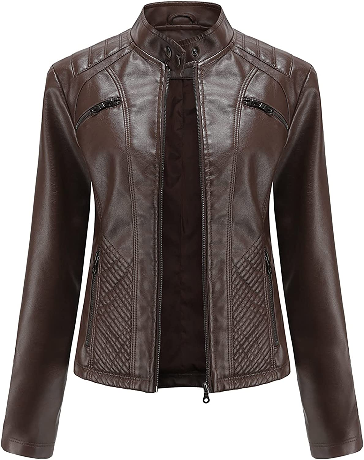 RFNIU Womens Zip Up Faux Leather Jacket Fall And Winter Fashion Motorcycle Coat With Pockets Casual Long Sleeve Tops