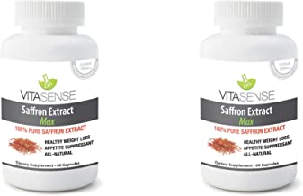 DOUBLE PACK Pack of 2 VitaSense Saffron Extract Crocus Sativus - 88 25 mg MAX - 60 Capsules - New Weight Loss Detox Dieting Supplement