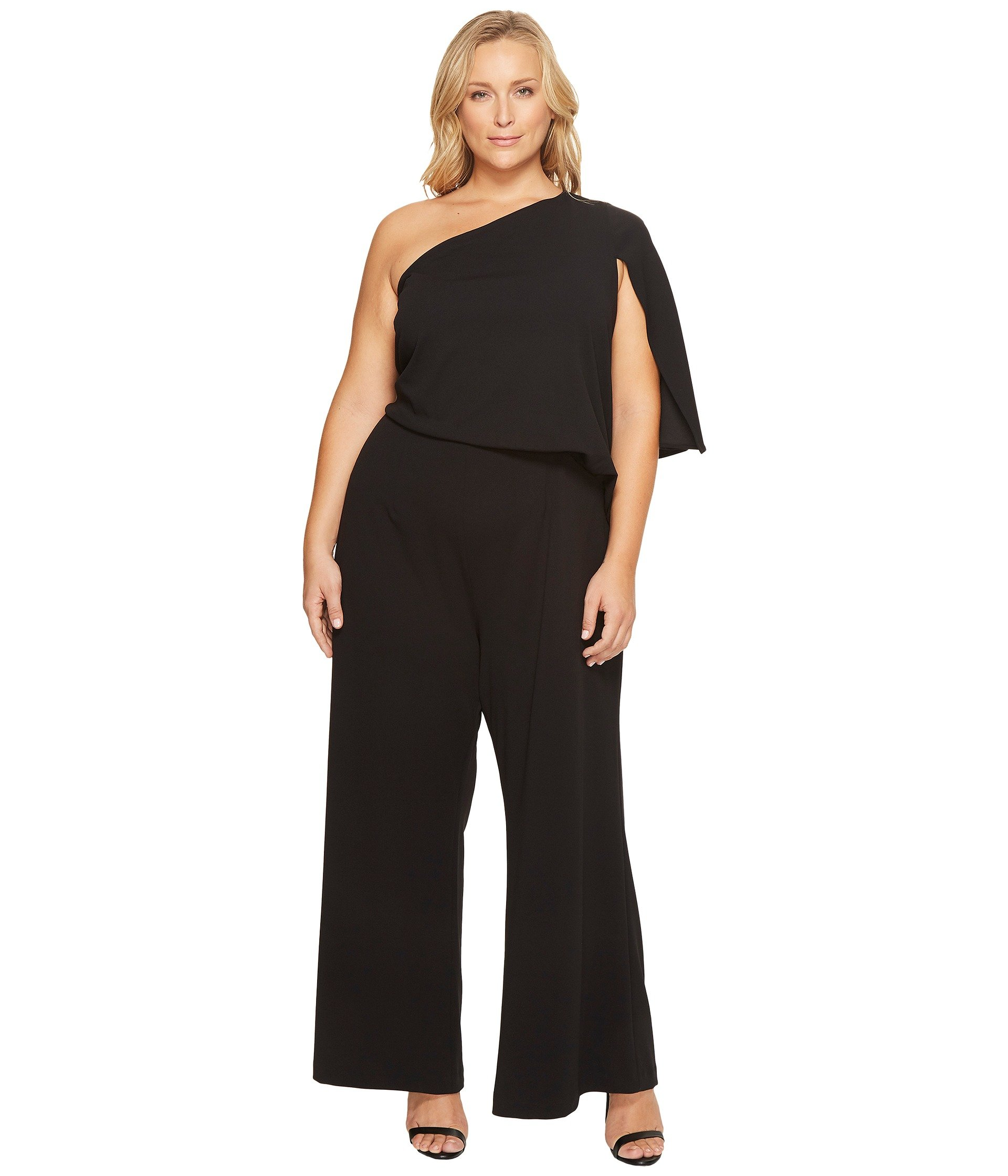 Adrianna Papell Plus Size Knit Crepe One-Shoulder Jumpsuit ...