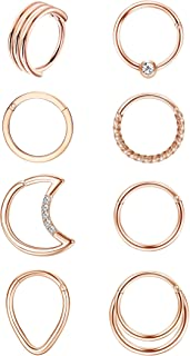 ORAZIO 8 Pcs 16G Stainless Steel Septum Nose Rings Cartilage Earrings Hoop CZ Hinged Clicker Rings Helix Daith Conch Tragu...