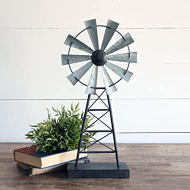 Foreside Home & Garden Small Distressed Metal Windmill Table Decor