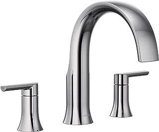Moen TS983 Doux Two-Handle High Arc Deck-Mount Roman Tub Faucet Trim, Valve Required, Chrome