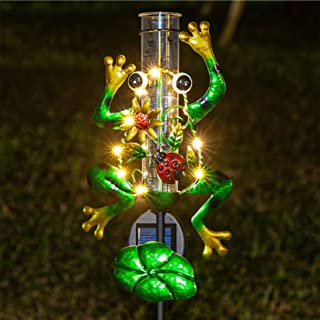 Litake Solar Rain Gauge Outdoor Decorative Metal Frog Rain Gauges Stake for Garden Yard, 6 Inch Capacity Rain Gauge Plasti...