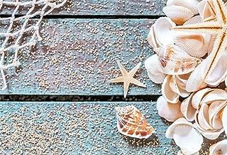 EdCott Arrugas 7x5ft Polyester Seashells Tema náutico Photo Booth Telón Fondo Niños Little Seaman Sailor Birthday Party Events Starfish Fishing Net Fondo para fotografía Photo Sin Arrugas