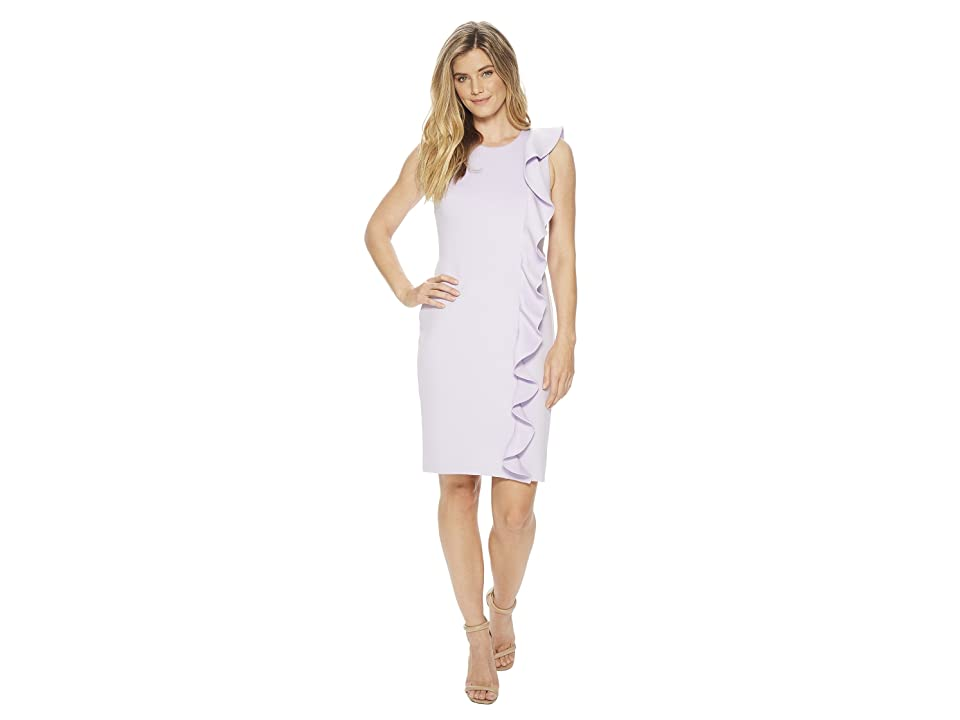 Calvin Klein Ruffle Scuba Sheath Dress CD8M14KQ (Opal) Women