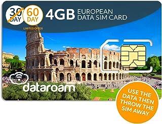 dataroam Prepaid 4G Europe Data SIM Card - Europe 4GB Bundle - 36 Countries - 3-in-1 SIM - Cellhire