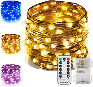 ER CHEN Color Changing Battery Operated Fairy Lights, 66ft 200 LED Twinkle String Lights 8 Modes Silvery Copper Wire Lights with Remote/Timer for Indoor Outdoor Christmas (Warm White&Blue)