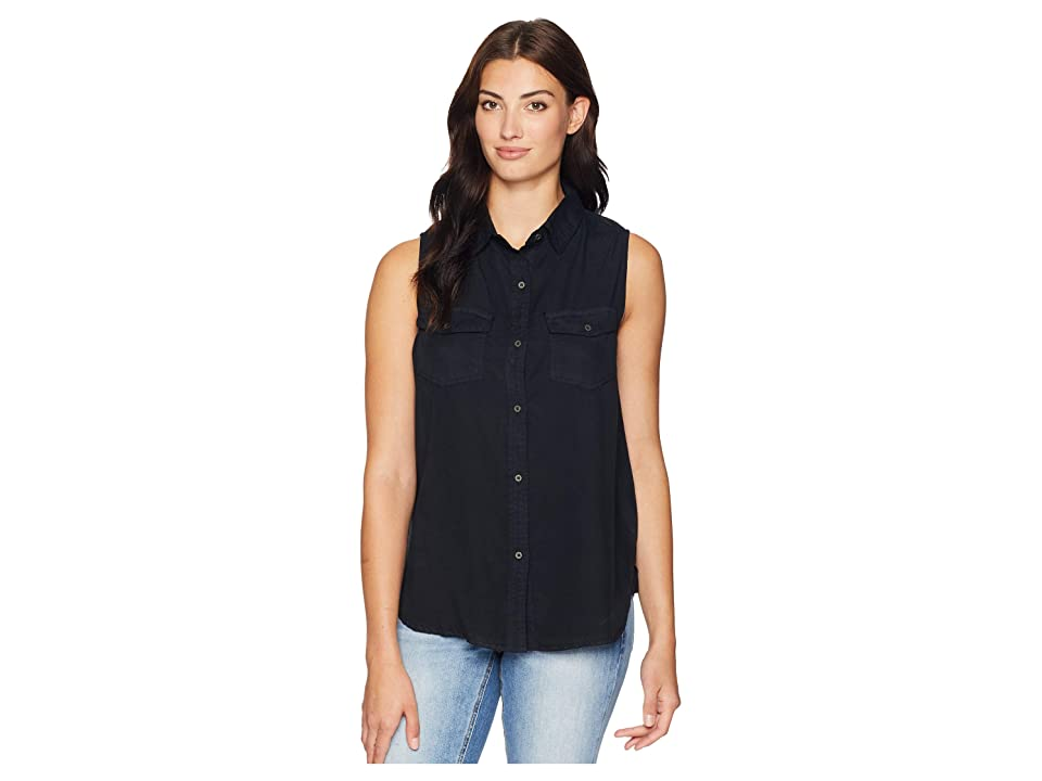 Dylan by True Grit Luxe Laundered Tencel Sleeveless Two-Pocket Shirt (Vintage Black) Women