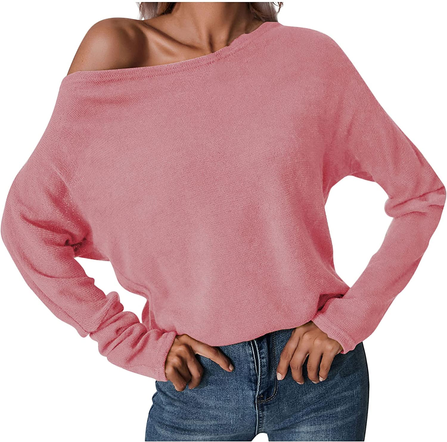 Fashion Womens Solid Color Off Shoulder Sweater Sexy Loose Long Sleeve Blouse with Collar Tops Pullover