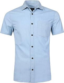 82c240877dc NUTEXROL Camisa de Hombre Camisa Vaquera para Verano Camisa de Estilo  Retro, Camiseta Casual de