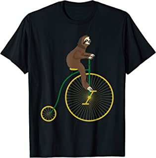 Funny Sloth on a Penny Farthing Bicycle Sloth Hiking Team T-Shirt