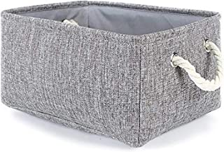 AUMA Collapsible Linen Fabric Storage Basket with Handles -Foldable Decorative Basket Rectangular Fabric Basket for Organi...