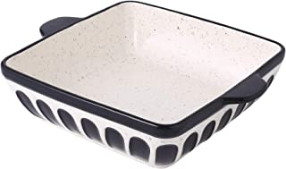 Porcelain Cake Pan Baking Dish 8.7 inch Baker Square Brownie Pan with Double Handle for Casseroles Lasagna, Black
