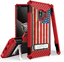 Beyond Cell Galaxy S9 Military Grade Drop Tested [MIL-STD 810G-516.6] Kickstand Card Slot Case - (Rustic USA Flag) and Atom Cloth for Samsung Galaxy S9