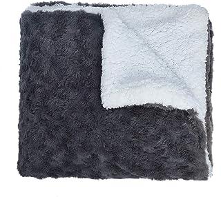 matrimoniale o king size Single Coperta in pelliccia sintetica per divano // letto singolo Grey//Silver 127 x 152cm