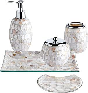 Whole Housewares 5-Pieces Bathroom Accessories Set, Bathroom Soap Dispenser Set, Mosaic Glass Bath Ensemble-Lotion Dispenser/Toothbrush Holder/Cotton Jar/Vanity Tray/Soap Dish (Pearl)