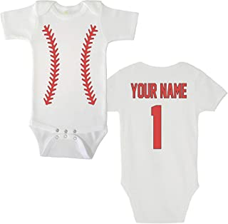 Baby Bodysuit - Custom Personalized Double Sided Baseball Jersey Name and Number