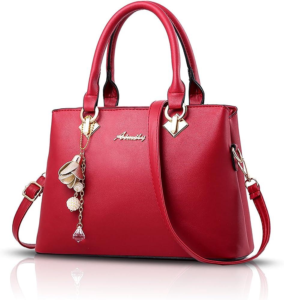 Sdinaz, borsa a mano/tracolla per donna, in pelle sintetica, rossa1 SK-DE34306