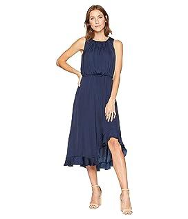 Sleeveless Cinched Waist Rumple Maxi Dress