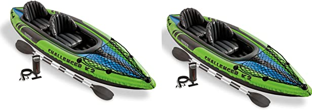 Intex Challenger K2 2-Person Inflatable Sporty Kayak + Oars And Pump (2 Pack)