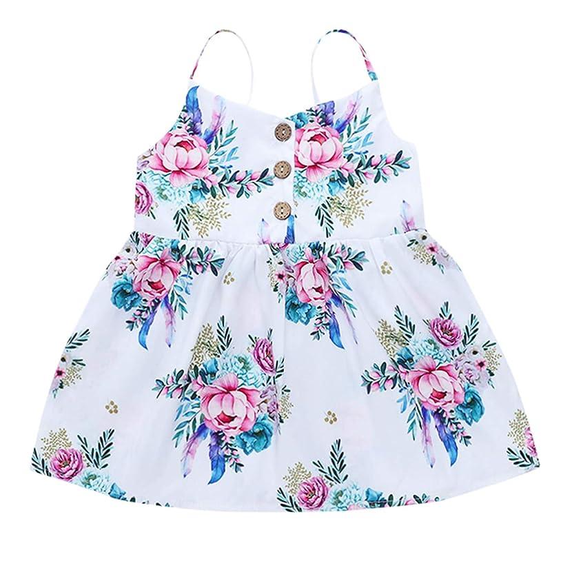 Summer Dress Mesh Girls Toddler Kids Baby Girls Straps Print Floral Casual Princess Dress Sundress