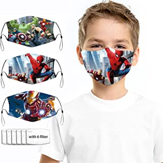 Sponsored Ad - 3Pack+6 Filters Cartoon Face_Mask Cute Kawaii Masks for Kids Boys Girls 3D Cartoon Mouth Cover With Adjusta...