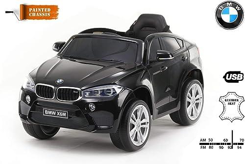 ofrecemos varias marcas famosas RIRICAR Coche eléctrico BMW X6M Nuevo - Asiento Asiento Asiento Individual, Pintado en negro, con Licencia Original, Alimentado por batería, Puertas Que se abren, Asiento de Cuero, 2X Motor, batería de 12 V  grandes precios de descuento