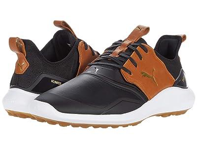 PUMA Golf Ignite Nxt Crafted (Puma Black/Leather Brown/Puma Team Gold) Men